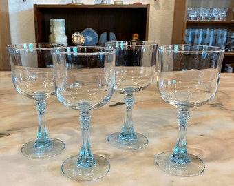 Set of Four Cristal D'Arques-Durland CRA35 Light Blue Spiked Stem Glasses