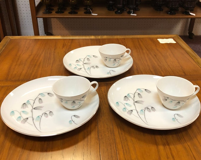 Mid Century Modern Porcelain Snack Set, 3 Plates and Coordinating Cups, Pastel Floral Decoration