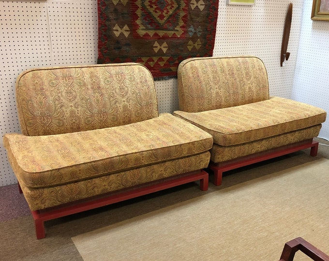 Pair of of Vintage Mid Century Modern Low Loveseats Built and Designed by Austin Architect
