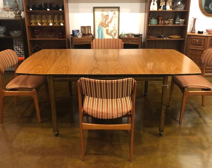 Mid Century Modern Baker Furniture Expandable Teak Drop-Leaf Dining Table with Leaf, C. 1950s, High-End Vintage