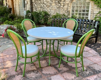 Cute Retro White and Green Metal Dinette Set, C. 1970s, Round Formica Table and Chairs