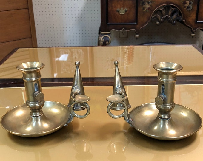 Pair of Small Mid-Century Brass Candle Stick Holders with Flame Snuffers