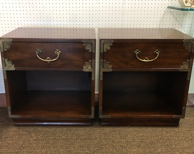 Pair of Henredon Chinoiserie Nightstands with Brass Accents