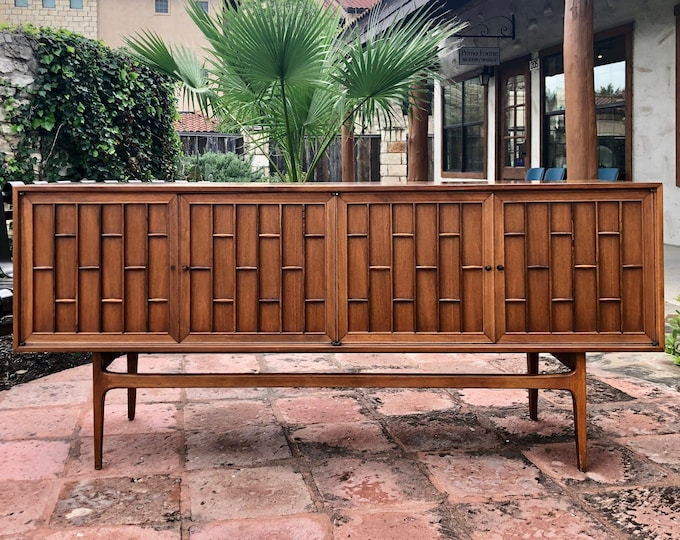 Mid Century Modern Walnut Credenza with Rosewood & Geometric Accents, C. 1960s Thomasville
