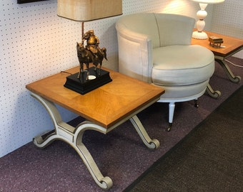 Pair of Hollywood Regency Style X Base Mid Century End Tables by Heritage