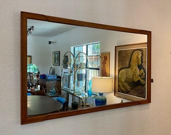 Mid Century Modern, C. 1960s, Designer John Stuart, Large Walnut Framed Wall Mirror