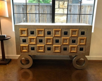 Vintage 1980s Contemporary Painted Credenza Cabinet with Geometric Detailing