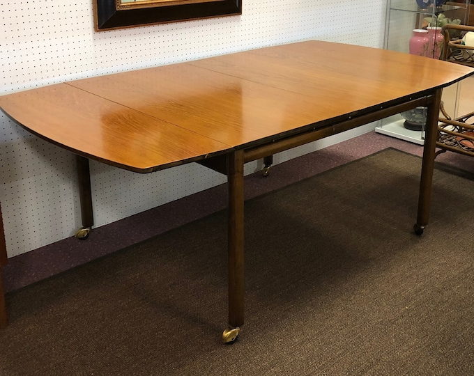 Mid Century Modern Baker Furniture Expandable Drop-Leaf Dining Table with Leaf, C. 1950s, High-End Vintage