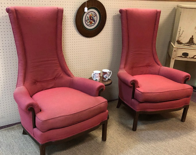 Comfortable Pair of Mid Century High Back Chairs in Original Rouge Dupioni Silk Fabric