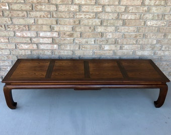 Mid Century Michael Taylor for Baker Furniture Long and Low Chinoiserie Hardwood Coffee Table