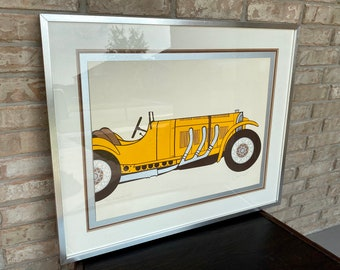 Vintage Framed 1930s Yellow Mercedes SSK Print or Lithograph, Matted Under Glass