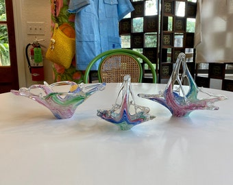 Choice of Italian Murano Art Glass Baskets and Bowl, Swirled Pastel Color Combination