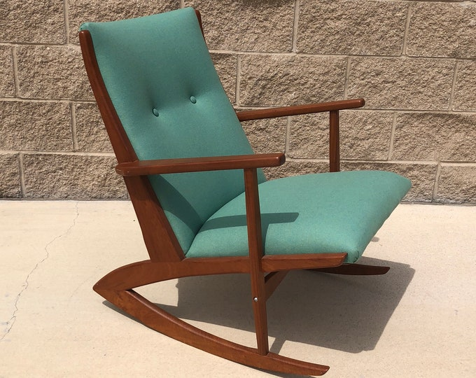 Mid Century Danish Modern Designer Georg Jensen Teak Rocking Chair