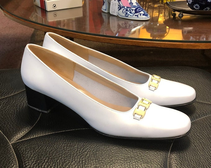 SOLD - Vintage Pair Salvatore Ferragamo Pearlized White Heeled Loafers Size 7 1/2 Narrow
