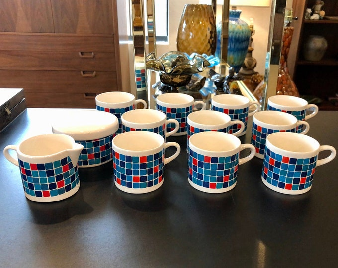 German, Mid Century Modern Melitta, Stockholm series, Tea Cups, Creamer and Lidded Sugar, Colorful Checkered Pattern
