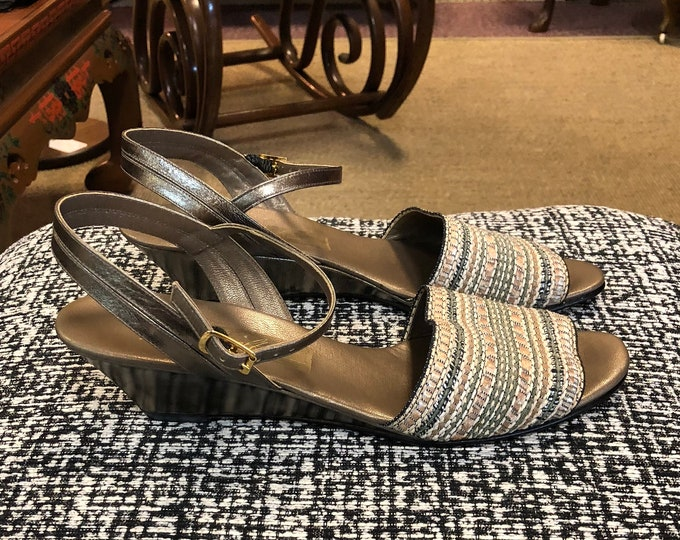 Pair of Vintage Amalfi 'Villy' Pewter-Bronze Leather and Woven Fabric Wedges, Italian Made, Size 7 - 7 1/2 Narrow, Marked 8 SS
