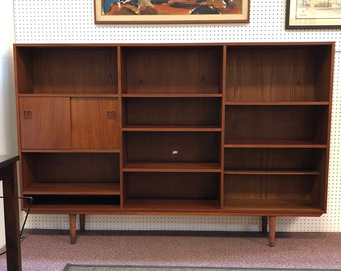 SOLD - Mid Century Danish Modern Teak Bookcase Wall Unit, Open Shelves and Sliding Door Cabinet