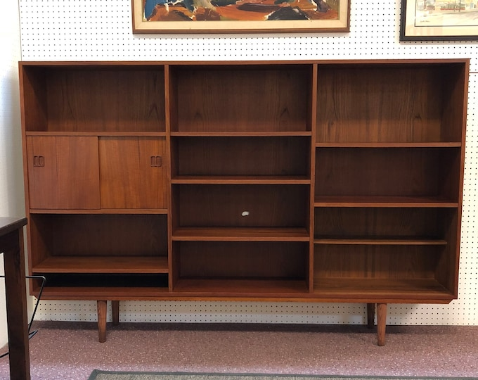 Mid Century Danish Modern Teak Bookcase Wall Unit, Open Shelves and Sliding Door Cabinet