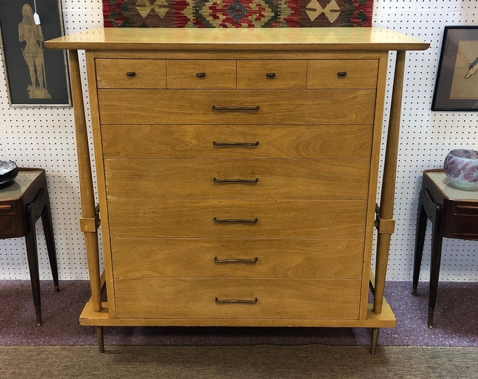 Mid Century Modern Highboy Dresser Chest, Brass Toned Metal Legs and Hardware, Large Storage Capacity