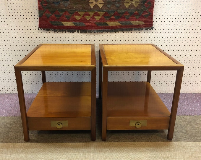 Pair of High End Baker Furniture Mid Century Modern End Tables