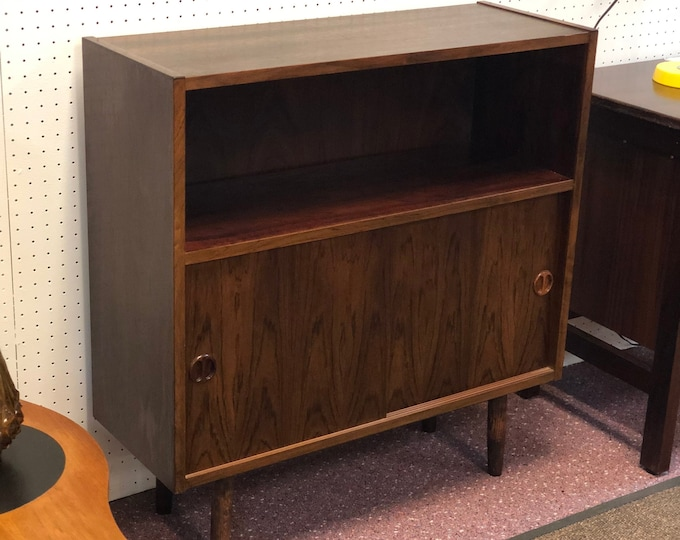 Mid Century Modern Danish Rosewood Small Bookcase with Sliding Door Storage and Interior Shelf