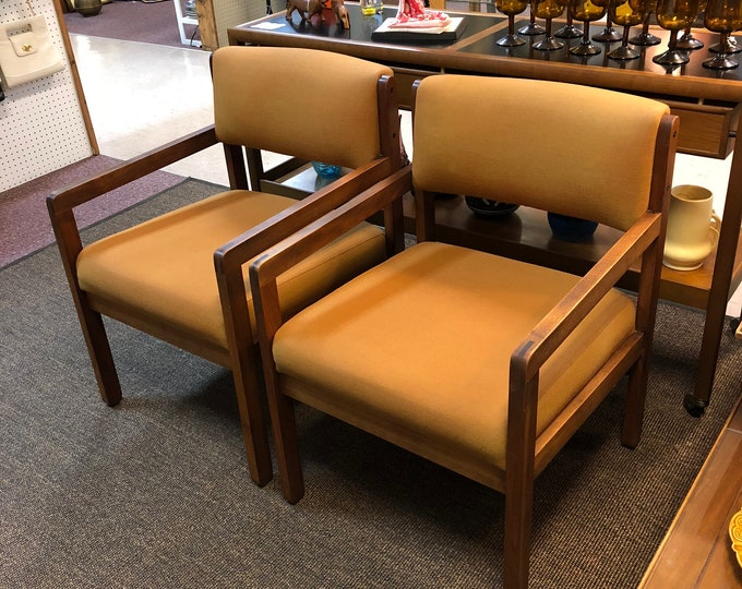 SOLD - Pair of Mid Century Modern Walnut Arm Chairs, Office Furniture