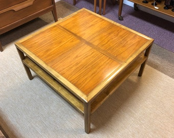 1950s Mid Century Modern Baker Furniture Square Coffee Table with Lower Caned Shelf