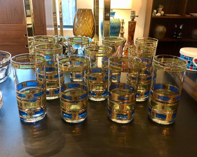 Set of Eleven Culver Empress 22k Gold Detailed, Hollywood Regency, Mid Century Modern, Highball Glass Tumblers, Plus Serving Bowl Option