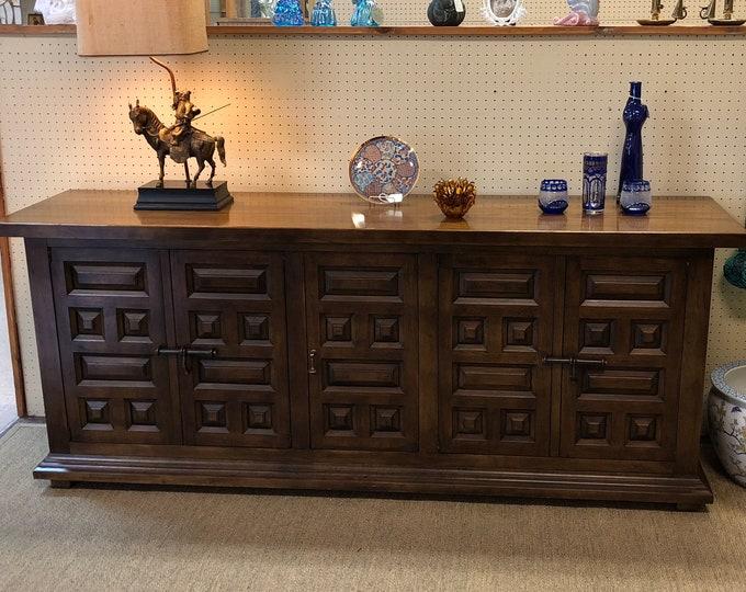 Mid Century Modern Drexel Solid Wood Long Buffet / Server / Sideboard