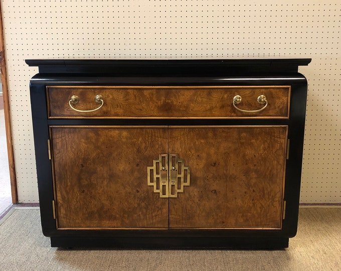 SOLD-OUT Chinoiserie Black Lacquer & Burlwood Bar Cabinet / Server with Fold-Out Mixing Table, by Century