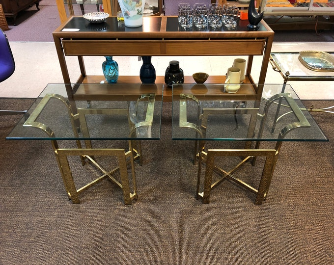 RESERVED - Pair of Mid Century Modern Hollywood Regency Style Brass & Glass Top End / Side Tables