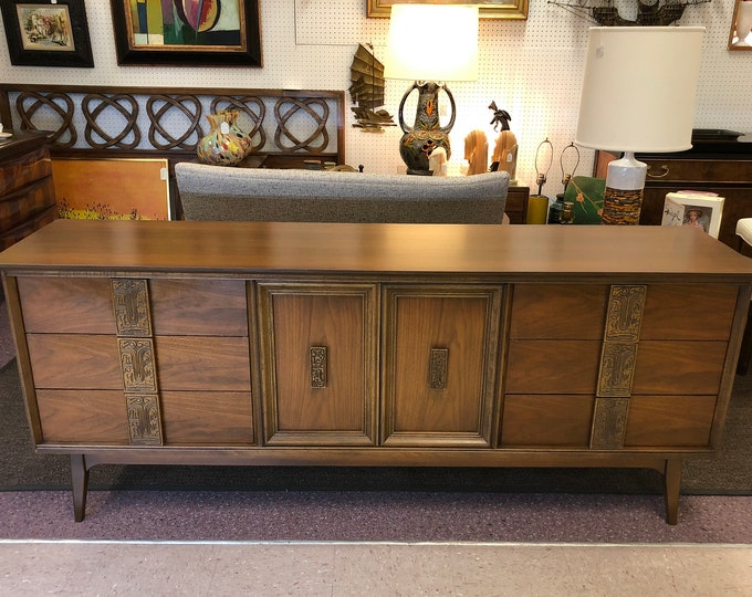 """SOLD-OUT Mid Century Modern Bassett """"Mayan"""" Collection Walnut Triple Dresser / Credenza / Sideboard, 1960s Tiki Style"""