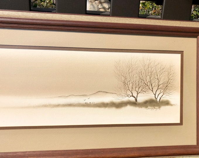 1970s Framed Mid Century Texas Landscape Art, Signed by Danny Gamble