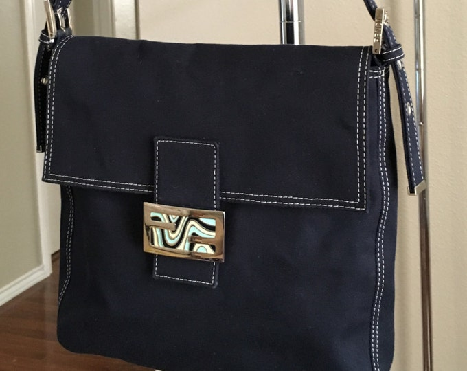 Designer Fendi Navy Blue Canvas Shoulder Bag / Purse