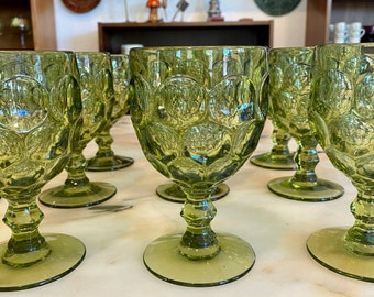 Imperial Glass-Ohio Provincial Green Thumbprint, Mid-Century Water Goblet Glasses
