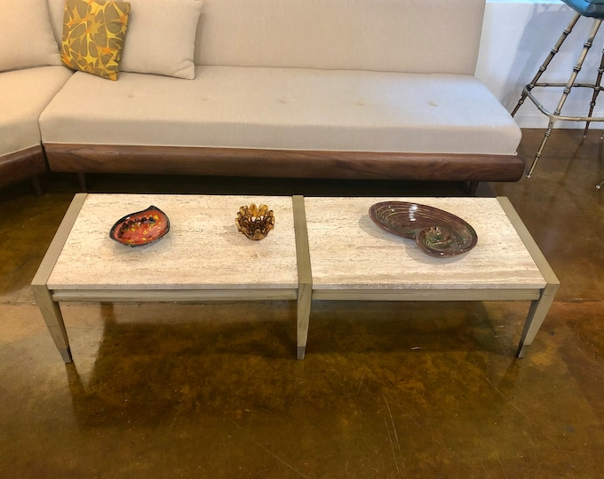 Mid Century Modern Travertine and Bleached Mahogany Wood Coffee Table