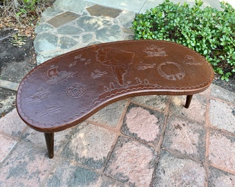 Peruvian Mid Century Modern Kidney Shaped Tooled Leather Top Coffee Table
