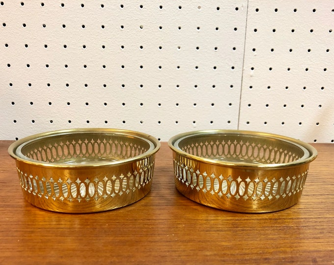 SOLD - Pair of Mid Century Glass Snack Bowls, Trinket Dishes, or Ashtrays with Decorative Pierced Brass Holders