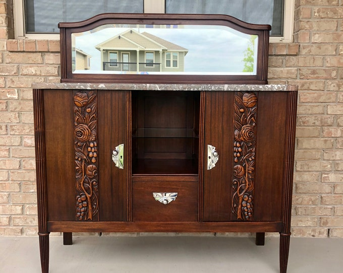 Antique Art Deco Mirrored Marble Top Sideboard with Beautiful Carved Details and Stylized Chrome Hardware