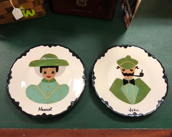 "Pair of Mid Century Hand Decorated and Painted ""Harriet & John"" Cameo Plates"