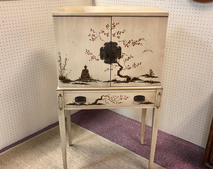 Mid Century Chinoiserie Silverware Cabinet by Drexel