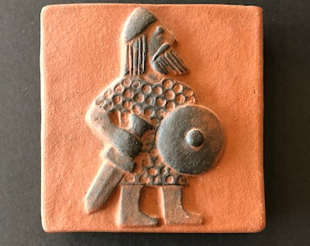 Danish Thyssen Keramik, Viking Warrior Terra-cotta Pottery Tile, C. 1970s