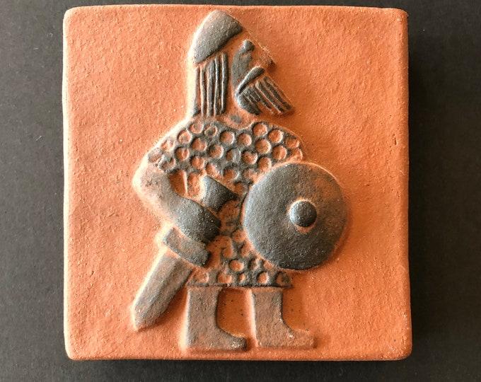 Danish Thyssen Keramik, Viking Warrior Terra-cotta Pottery Tile, C. 1970s