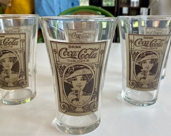 Set of Six Libby Glass Coca Cola Tumblers, Re-Created From an Original Turn of the Century Design