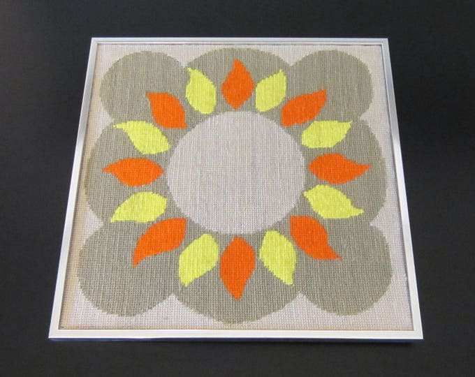 Mid Century Modern Framed Needlepoint Embroidery Geometric Sun Wall Art