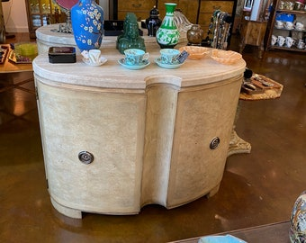 Pair of Art Deco Style Demilune(Crescent Shaped) Burl Finish Cabinets with Travertine Tops