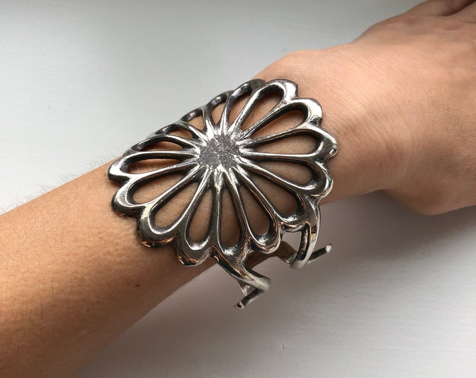 SOLD - Large Floral Statement Cuff Bracelet Stamped FB with Key Image