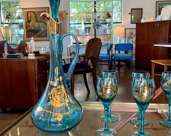 Mid-Century Hungarian Teal-Blue Glass Decanter Set, 22k Gold Rose Decoration, 8 Pieces, Decanter with Stopper and 6 Stemmed Glasses