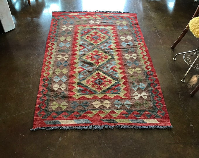 Handwoven Turkish Kilim Area Rug