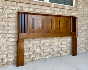 Mid Century Modern, C. 1960s-70s Walnut and Rosewood Queen Headboard by Lane